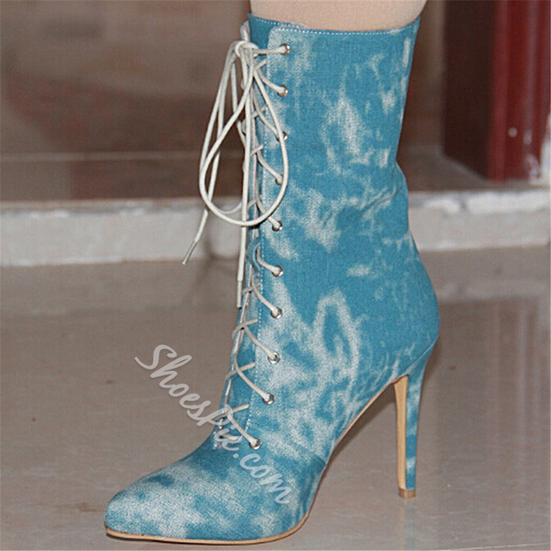 Shoespie Denim Pointed Lace Up Mid-Heel Ankle Boots