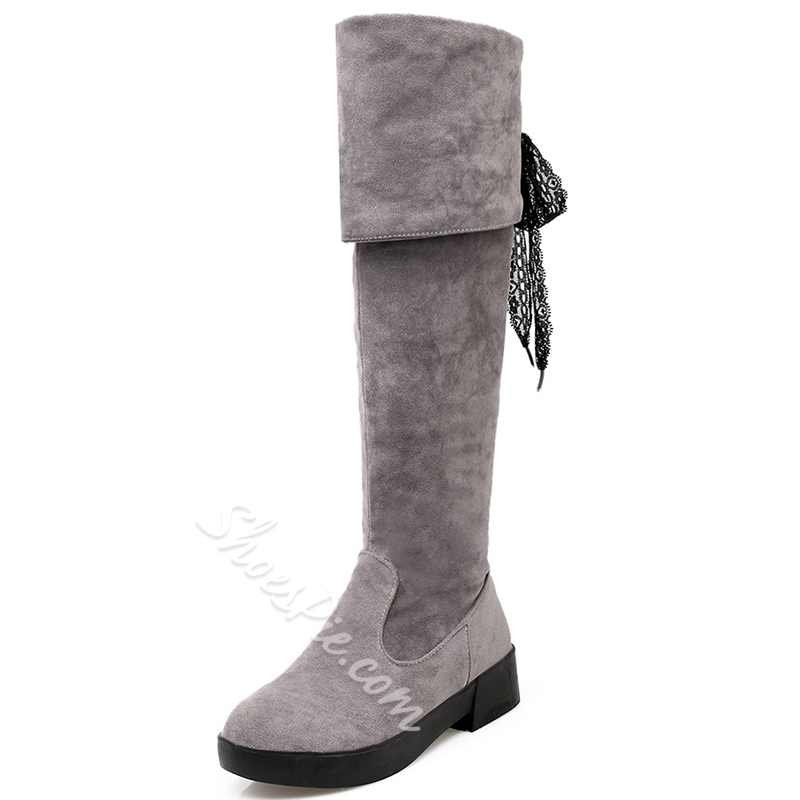 Shoespie Nubuck Leather Back Tie Knee High Boots