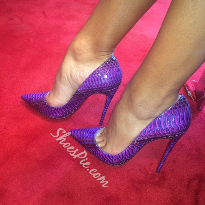 Shoespie Dreaming Purple Snake Effect Stiletto Heels