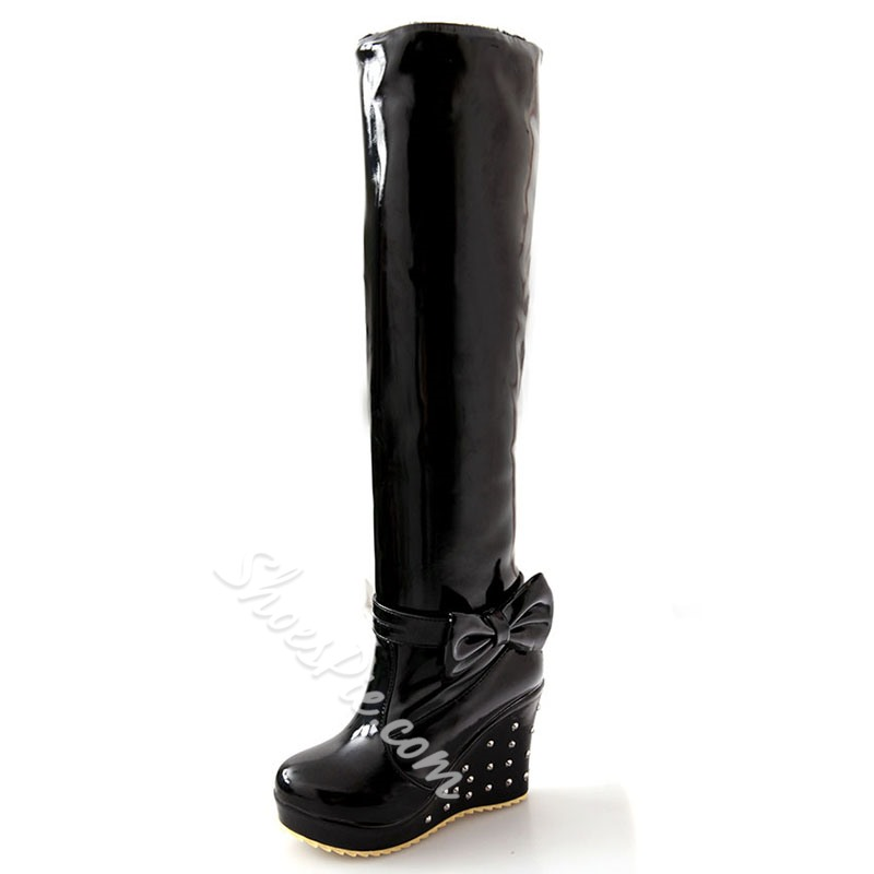 Shoespie Sweet Solid Color Shearling Bow Rivets Snow Boots