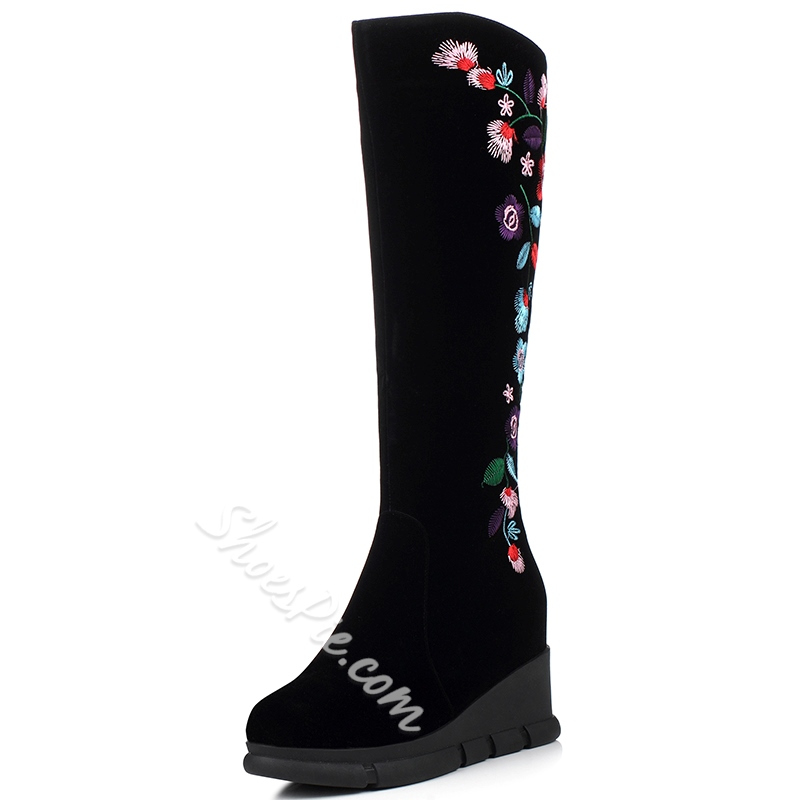 Shoespie Black Nubuck Side Floral Embroidered Wedge Boots