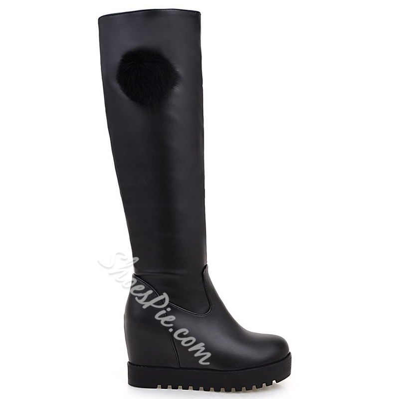 Shoespie Solid Color Pompom Accented Wedge Knee High Boots
