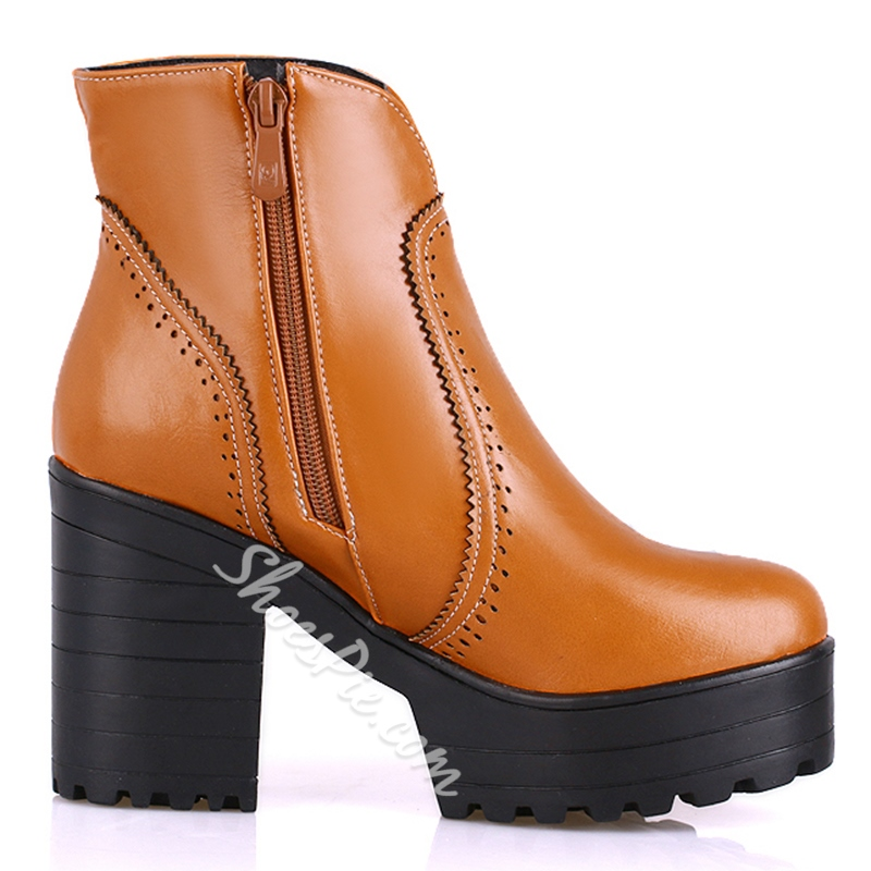 Shoespie Solid Color Patchwork Fashion Boots