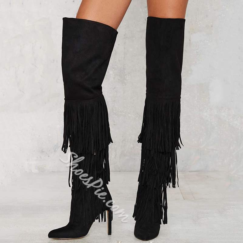 Shoespie Suede Flowing Fringe Extreme High Heel Knee High Boots