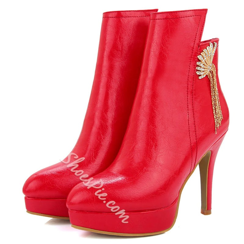 Shoespie Solid Color Chinese Fan Embellished Ankle Boots