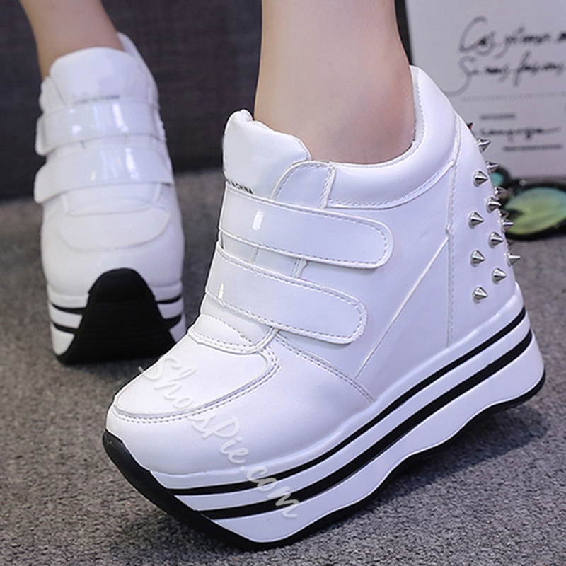 Shoespie Spikes Velcro Platform Sneakers