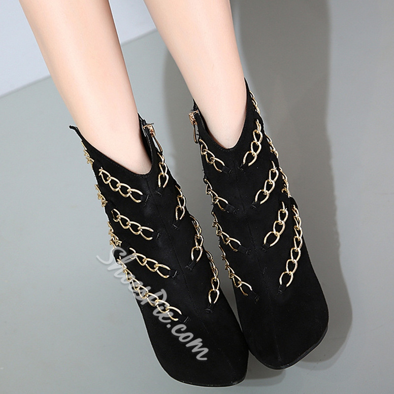 Shoespie Black Chain Embellished Fashion Booties