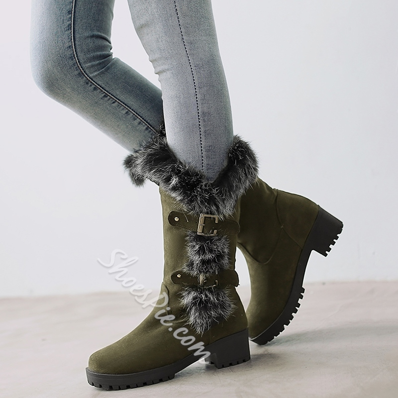 Shoespie Shearling Flat Snow Boots