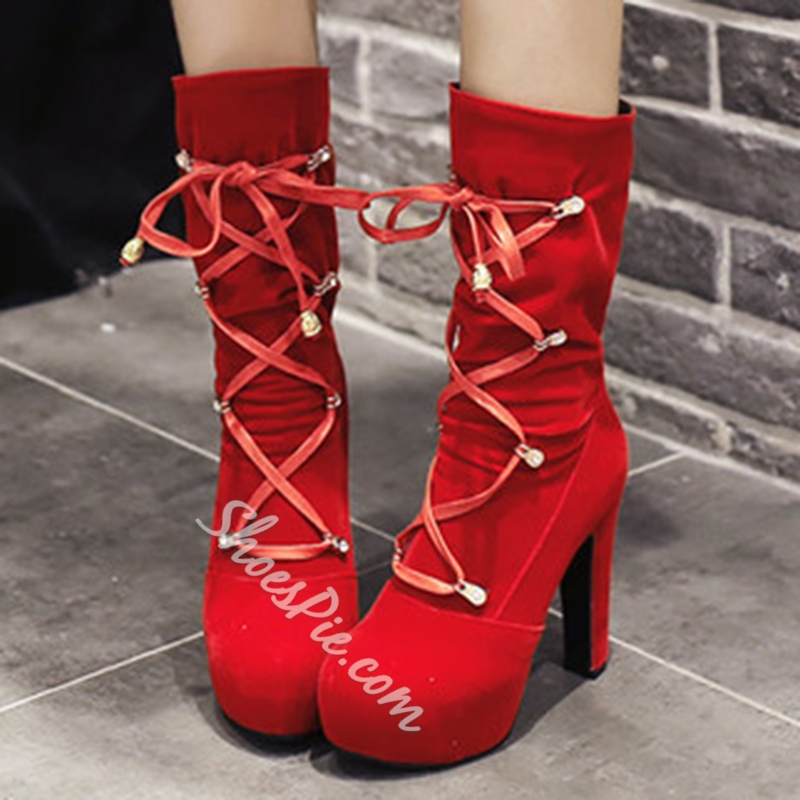 Shoespie Nubuck Lace-Up Mid-Heel Mid Calf Boots