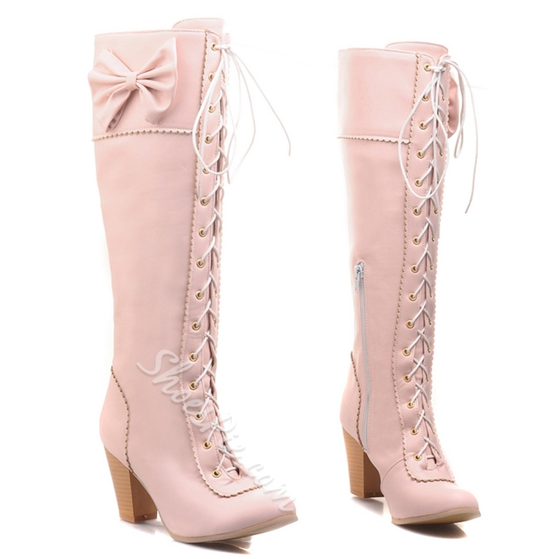 Shoespie Candy Color Bow Lace Up Block Heel Knee High Boots