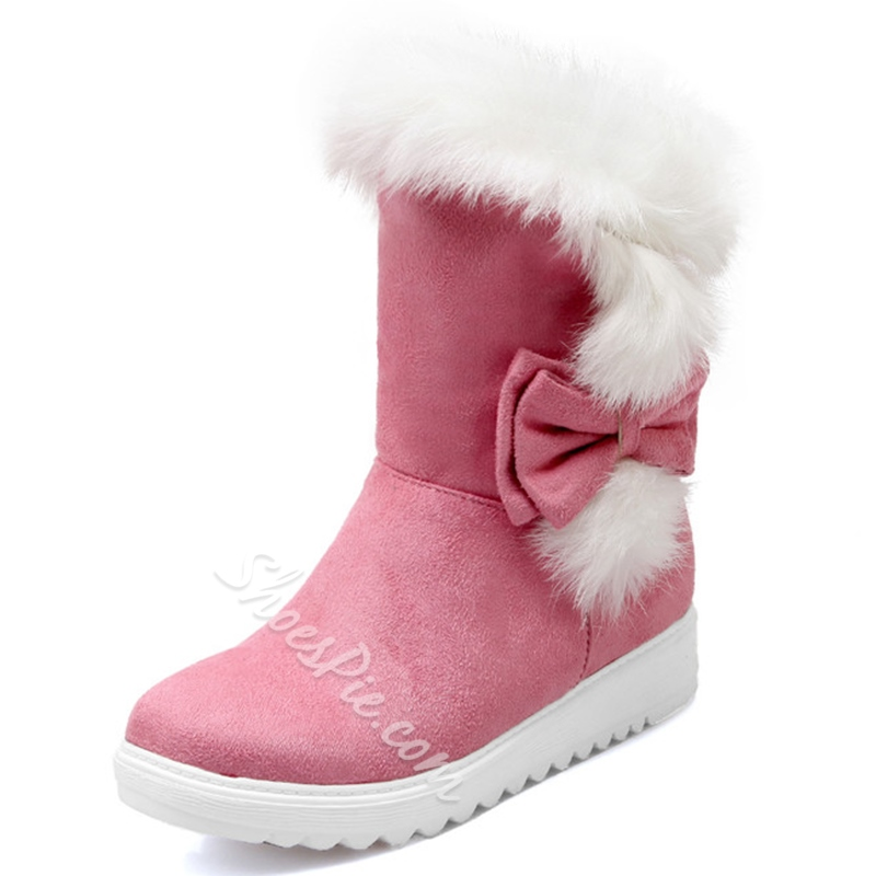 Shoespie Sweet Side-Bow Furry Snow Boots
