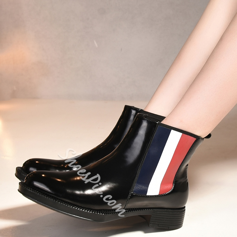 Shoespie Black Patent Patchwork Ankle Boots