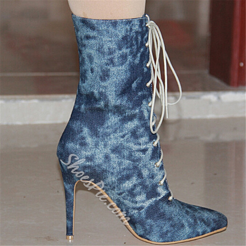 Shoespie Denim Pointed Toe High-Top Ankle Boots