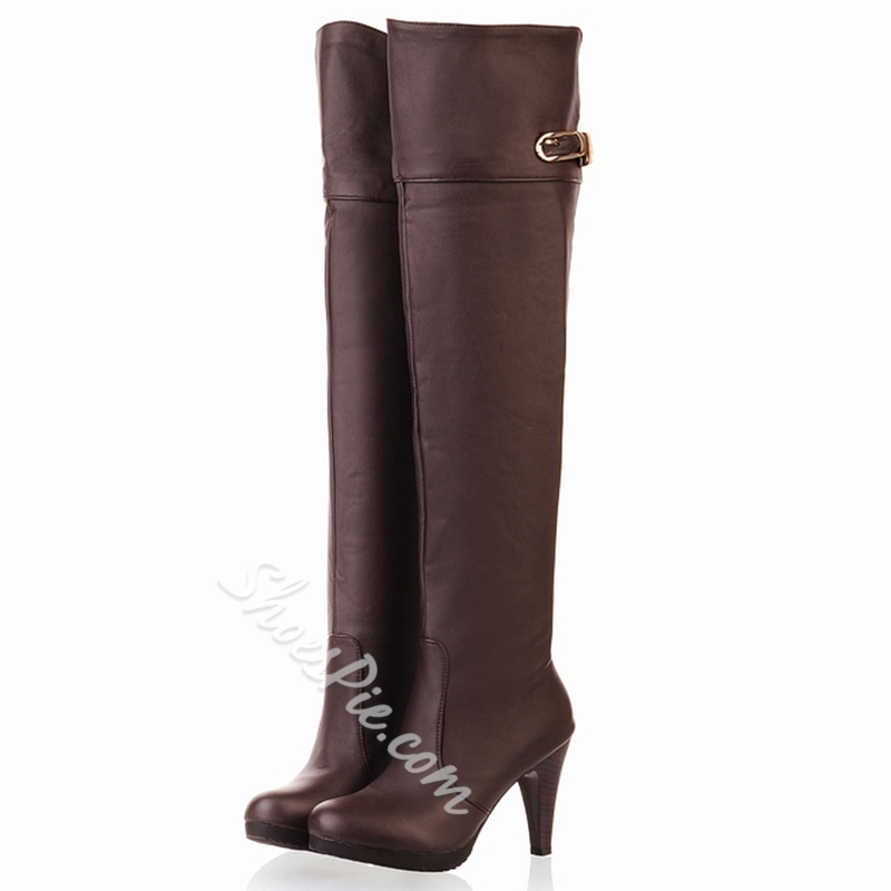 Shoespie Round Toe Mid Heel Knee High Boots