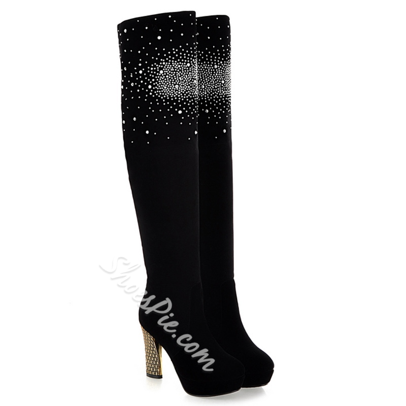 Shoespie Black Sequine Mid Heel Knee High Boots