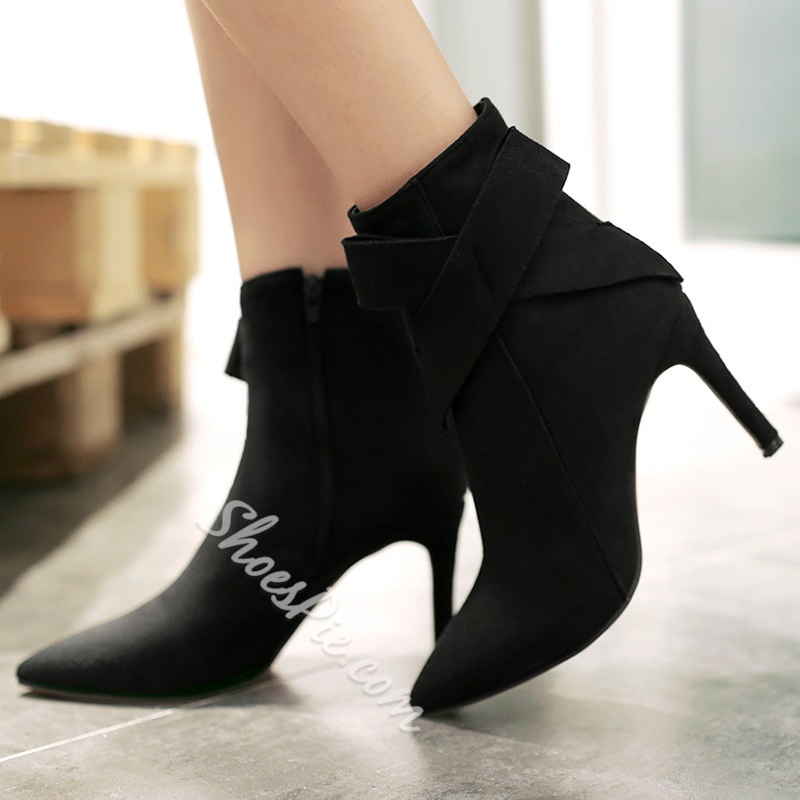 Shoespie Nubuck Leather Bow Knot Pointed Toe Ankle Boots