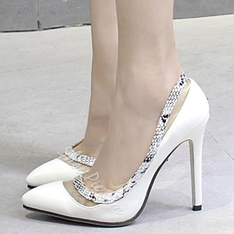 Shoespie White Snake-effect Stiletto Heels