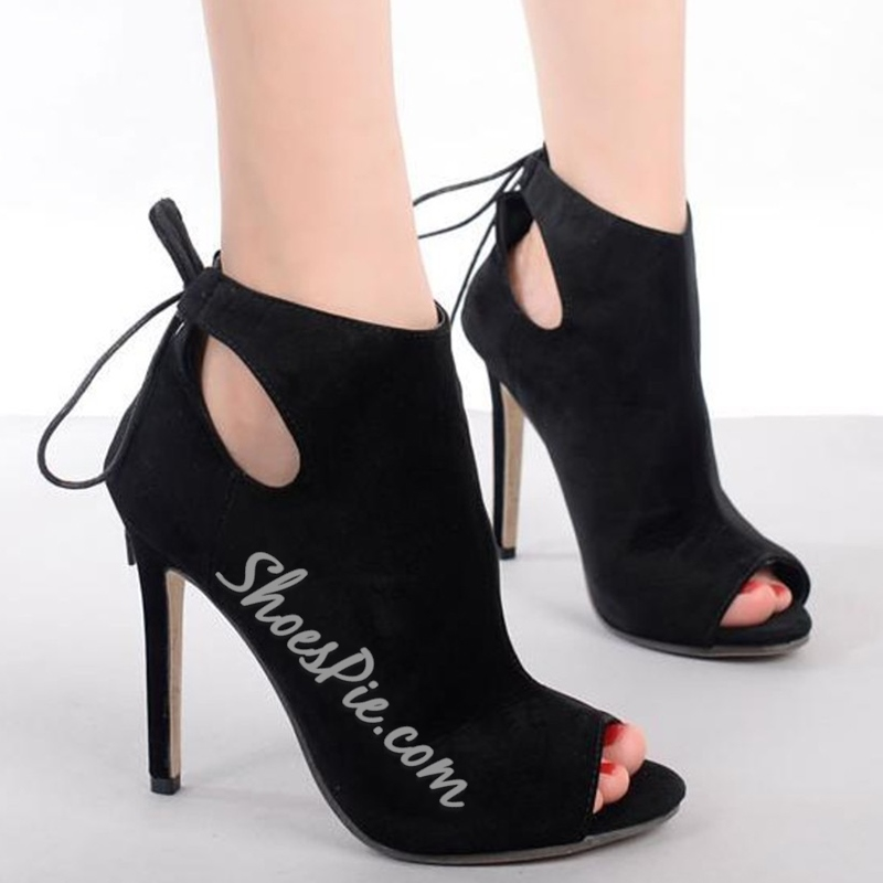 Shoespie Chic Black Cut Out Tie-Back Stiletto Heels