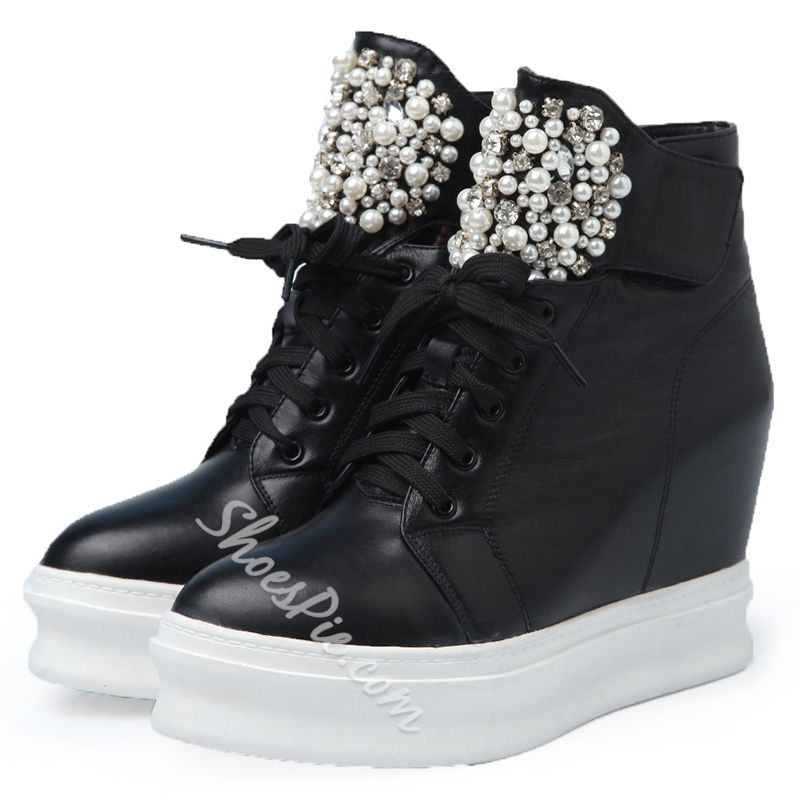 Shoespie Leather High-Top Platform Hidden Wedge Boots