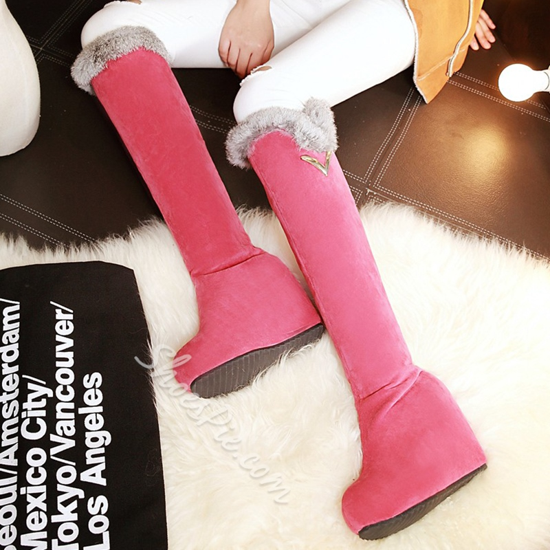 Shoespie Shearling Wedge Heel Knee High Boots