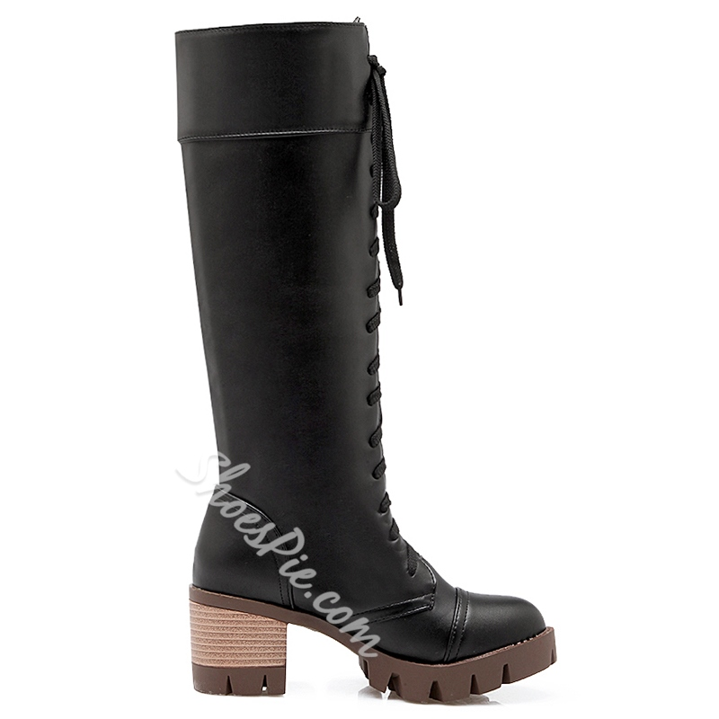 Shoespie Round Toe Lace Up Hiking Boots