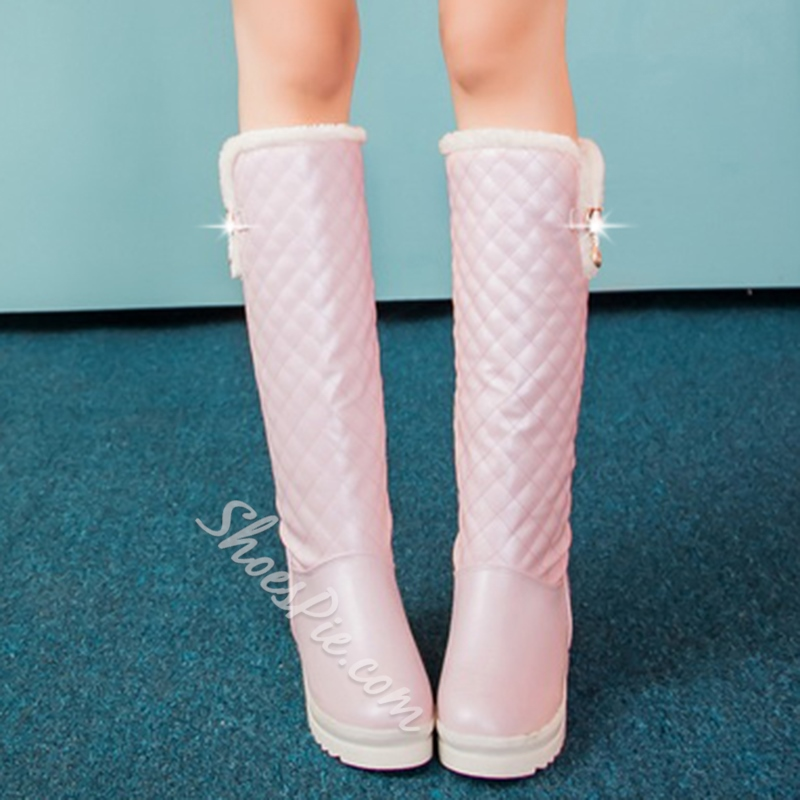 Shoespie Round Toe Plaid Flat Snow Boots
