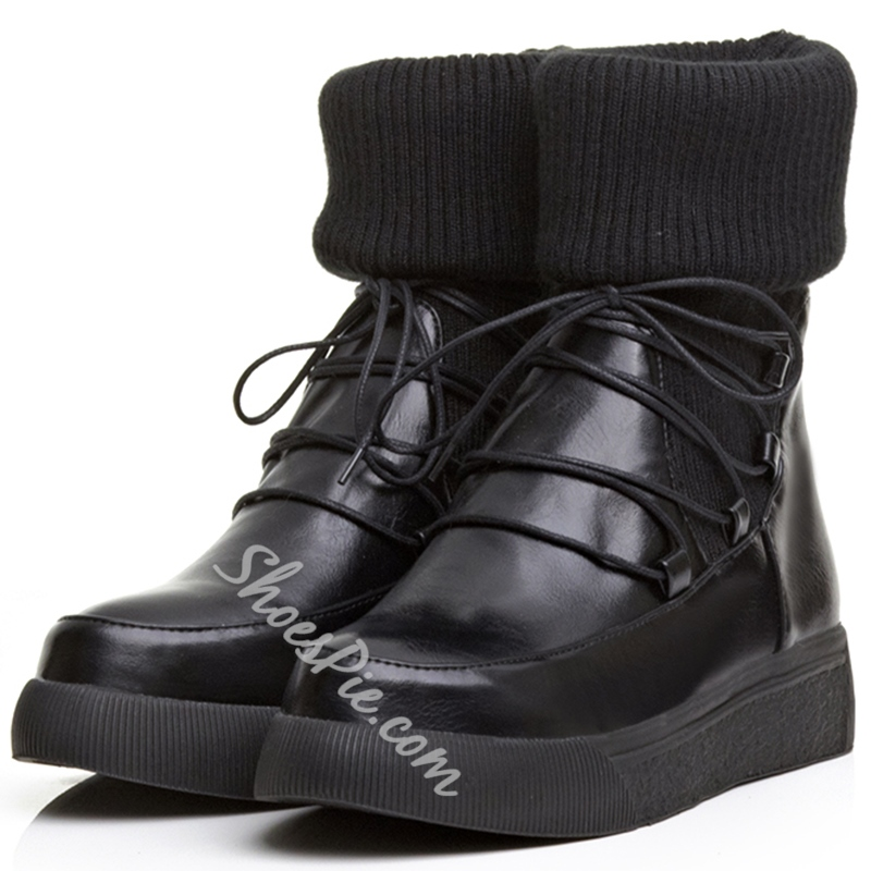 Shoespie Woolen Round Toe Hiking Boots