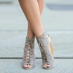 Shoespie Suede-like Lace-Up Backless Wedge Heels