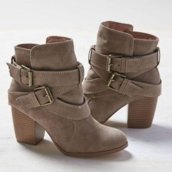 Shoespie Gray Ankle Buckle Block Heel Fashion Booties