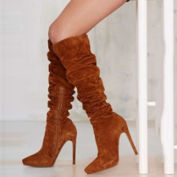 Shoespie Brown Pointed Toe Extreme Knee High Boots