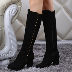 Shoespie Rivets Hoop Block Heel Knee High Boots