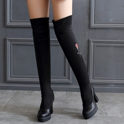 Shoespie Floral Embroidered Thigh High Boots
