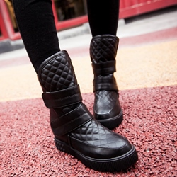 Shoespie Round Toe Plaid Velcro Snow Boots