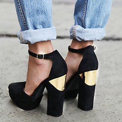 Shoespie Black Metal Appliqued Chunky Heel Platform Heels