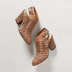Shoespie Brown Closed Toe Weave Block Heel Booties
