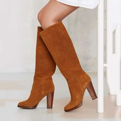 Shoespie Brown Nubuck Wide Boots