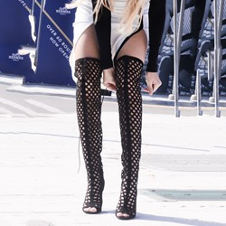Shoespie Suede-like Cut Out Cage Thigh High Boots