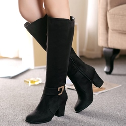 Shoespie Block Heel Ankle Buckle Knee High Boots