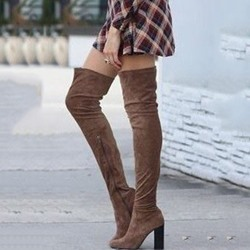 Shoespie Coffee Block Mid Heel Thigh High Boots