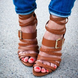 Shoespie Brown Wrap Strappy Sandals