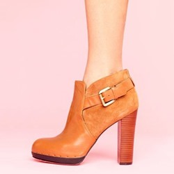 Shoespie Round Toe Buckle Block Heel Ankle Boots