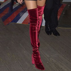 Shoespie Velvet Block Heel Thigh High Boots