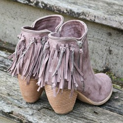 Shoespie Light Purple Fringe Block Low Heel Fashion Booties