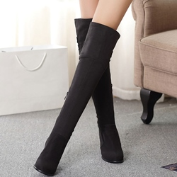 Shoespie Chic Plain Round Toe Chunky Heel Knee High Boots