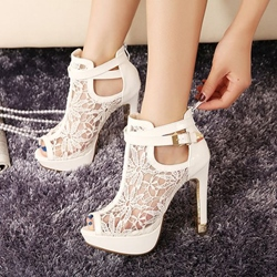 Shoespie White Lace Inset Peep Toe Platform Heels shoespie
