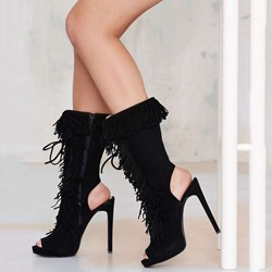 Shoespie Black Suede-like Fringe Peep Toe Backless High Heel Boots