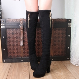 Shoespie Suede-like Rpund Toe Knee High Boots