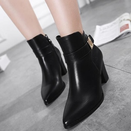 Shoespie Black Pointed Toe Block Heel Ankle Boots