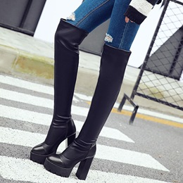 Shoespie Round Toe Platform Lug Sole Thigh High Boots
