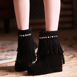 Shoespie Fringe Hidden Wedge Heel Ankle Boots
